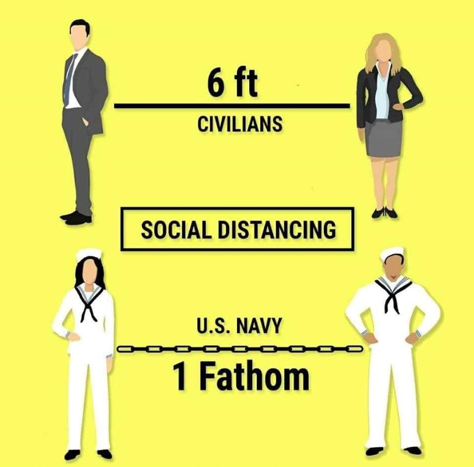 Social Distancing: 6' for Civilians, 1 Fathom for Sailors